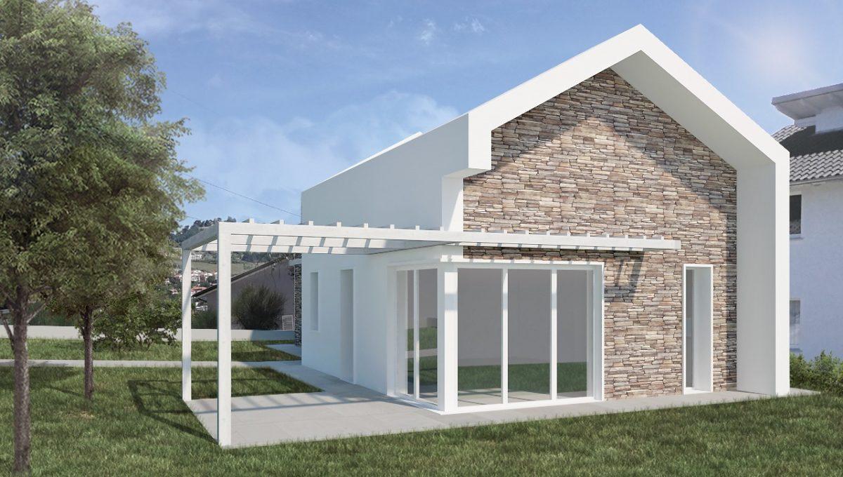 Costruzione innovativa a consumo zero ad Ancona, villa su un livello con ampio giardino