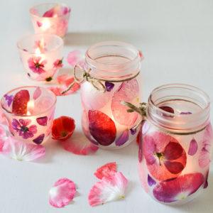 candele fai da te con fiori